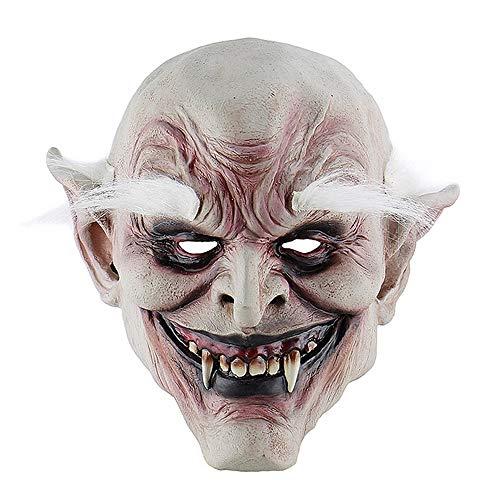 Teufel Weibliche Kostüm Bilder - ZWX Erwachsene Kostüm Horn Maske Weiß-Browed Alten Dämon Halloween Horror Teufel Maske Vampire Spukhaus Böse Mörder