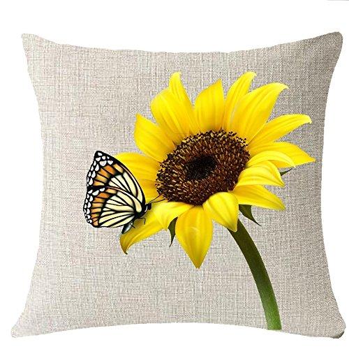 Sonnenblumen-kissen Dekorative (fringcoook You Are My Sunshine Sun Gelb Sonnenblume Schmetterling Überwurf Kissenbezug Kissen Fall Baumwolle Leinen Material dekorative 45,7x 45,7cm)