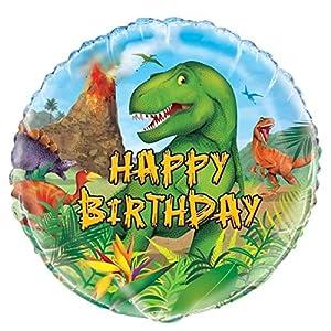 Unique Party- Globo Foil de Cumpleaños Fiesta de Dinosaurios (58307)