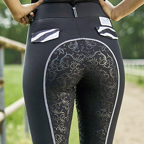 Reitleggings Reithose Reiterhose Zebra mit Netzeinsatz Schwarz Vollgrip Grip Tysons 36 38 40 42 44 46 48 (46) -