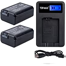 TOP-MAX® 2 NP-FW50 Batería (1230mAh) + LED USB Cargador para Sony Alpha a3000, Alpha a5000, Alpha a6000,a6300,a6500,Alpha 7, a7, Alpha 7R, a7R, Alpha 7S, a7S, NEX-3, NEX-3N, NEX-5, NEX-5N, NEX-5R, NEX-5T, NEX-6, NEX-7, NEX-C3, NEX-F3, SLT-A33, SLT-A35, SLT-A37, SLT-A55V, Cyber-shot DSC-RX10