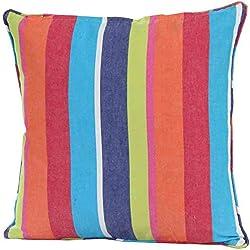 Homescapes Cojín Relleno Blando y Funda Algodón Decorativa, Diseño a Rayas Multicolor 45 x 45 cm