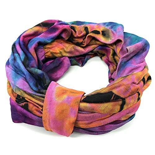 Casualbox Tie Dye Stirnband Hippie Mode Elastisch Kopf Wickeln Abdeckung 60'S 70'S Retro Bandana Psychedelisch Blume Muster B (Tie-dye-mode)