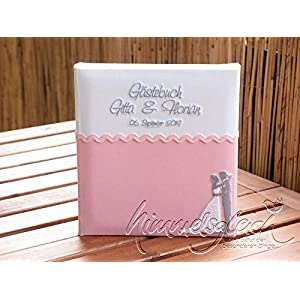 Gästebuch Hochzeit mit Brautpaar rosa