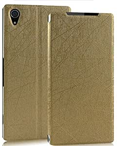 Sony Xperia Z2 Rain Series Shell Back Flip Cover Case - Gold