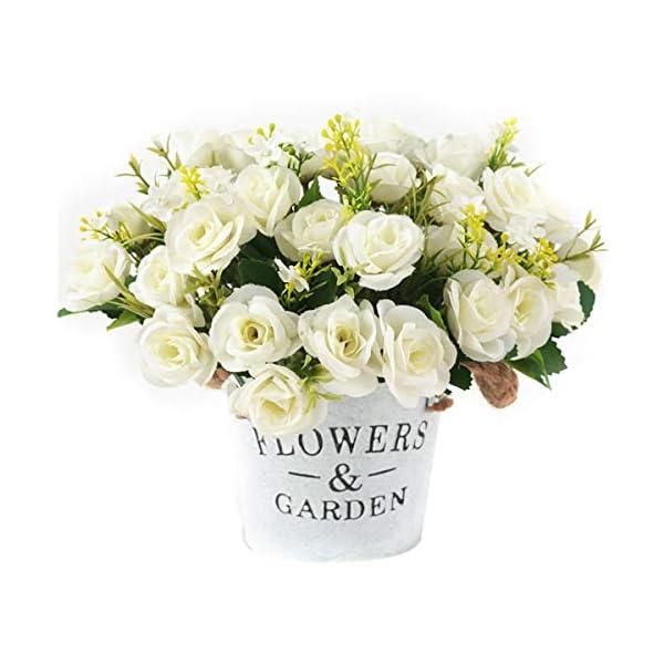 4 Ramos de Rosas Artificiales de Seda Flores Falsas para la Decoración de Boda en Casa, 5 Tenedores, 10 Cabezas (Rosado)