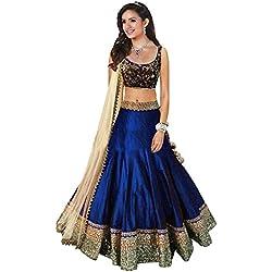 Market Magic World Women's Benglory Silk Lehenga Choli (MMW_lehengha_4062 _Blue _Free Size)