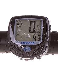 Crenova Ordenador para Bicicleta Inalámbrico Resistente al Agua Cuentakilómetros Velocímetro con Función de Activación Automática y LCD Retroiluminada