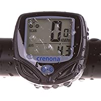 Crenova Wireless Bicycle Computer Automatic Wake-up Waterproof Bike Odometer Speedometer with LCD Back Light