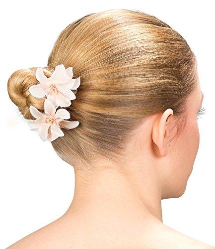 SIX Blumen 2er Set Damen Haarspangen mit zart apricot crème farbenen Textil Blumen, Haarklammern, Haarclips, Hochzeit, Kinder, Fest (488-076)