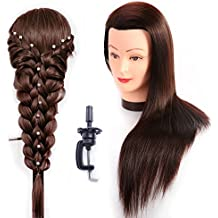 Übungskopf Friseur 100% Synthetik haar Trainingskopf Frisurenkopf 66 cm Trainingsköpfe für Friseure Mit Halter ESC0418P