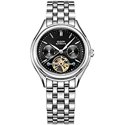 SHELI Mens Unique Designer Black Dial Skeleton 21 Jewelry Mechanical Movement Calendar Wristwatcg Timepiece,41mm