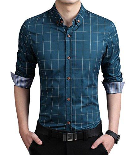DD UP Herren Hemd Slim Fit Baumwolle Business Langarmhemd Kariert Freizeit Hemden Acid Blue