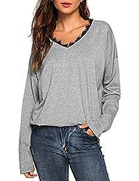 Luckycat Camiseta de Las Mujeres Otoño Invierno Color Sólido Tallas Grandes Manga Larga Camisas Cuello en