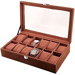 Designer Window Watch Case 12-Slot PU Leather Glass Display Top Organizer Box