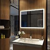 Duravak LED Spiegel Badspiegel eckig Spiegel mit Energiesparender Beleuchtung kaltweiß IP44 mit...