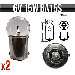 6V 15W BA15s Klassisches Motorrad / Roller Glühbirnen p244a 2 Stück