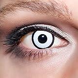 KwikSibs farbige Kontaktlinsen, weiß, Zombie / Manson, weich, inklusive Behälter, BC 8.6 mm / DIA 14.0 / 0,00 Dioptrien (ohne Stärke), 1er Pack (1 x 2 Stück)