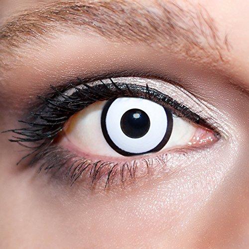 KwikSibs farbige Kontaktlinsen, weiß, Zombie / Manson, weich, inklusive Behälter, BC 8.6 mm / DIA 14.0 / +0,50 Dioptrien, 1er Pack (1 x 2 Stück)