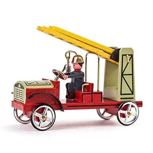 Miniatur-Feuerwehrauto Leiterwagen - Dregeno Erzgebirgische Holzkunst - Artikel 068/014