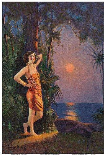 Pacifica Island Art Hawaii-Pin-up-Girl - Vintage Retro Pin Up Kalender Seite von L. Goddard c.1920s - hawaiianischer Kunstdruck - 33cm x 48cm (Vintage Pin-up-kalender)