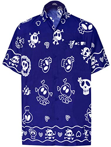 LA LEELA Herren Hemd Strandhemd Hawaiihemd Kurzarm Urlaub Hemd Freizeit Reise Hemd Party Hemd Hawaii Front-Tasche Kostüm Hemd Blau_W189 5XL (Stamm 2019 Kostüme)