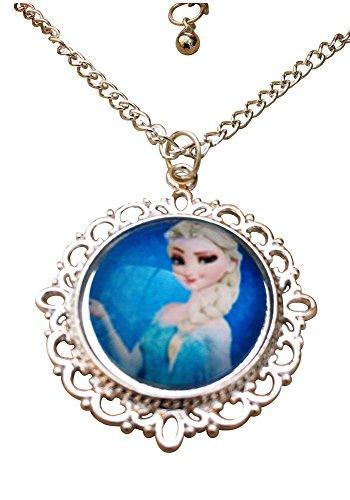 Eingefroren. 'Frozen' Prinzessin Elsa PortrŠt Glas Cabochon AnhŠnger Halskette mit 18