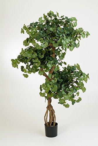 artplants – Kunst Ginkgo Baum Gregor, 1092 Blätter, grün, schwer entflammbar, 145 cm – Künstlicher Ginko Baum/Deko Zimmerbaum im Topf