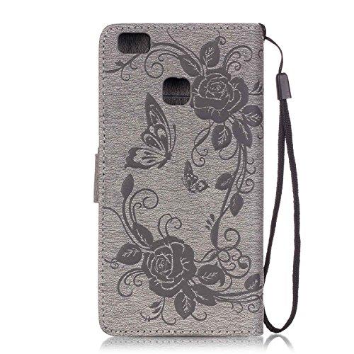C-Super Mall-UK Apple iPhone 6 Plus / 6s Plus 5.5 Inch hülle: Qualität Exquisite Geprägtes Blumen & Schmetterling-Muster PU-Leder-Mappen-Standplatz -Schlag-hülle für Apple iPhone 6 Plus / 6s Plus 5.5  gray