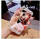 COTDINFOR Galaxy Note 4 Hülle Bling Glitzer Diamant Spiegel Schutzhülle Kristall Strass Ständer Halter Stoßdämpfend TPU Silikon Handy Crystal Etui für Samsung Note 4 Bear Ring Mirror Rose Gold.