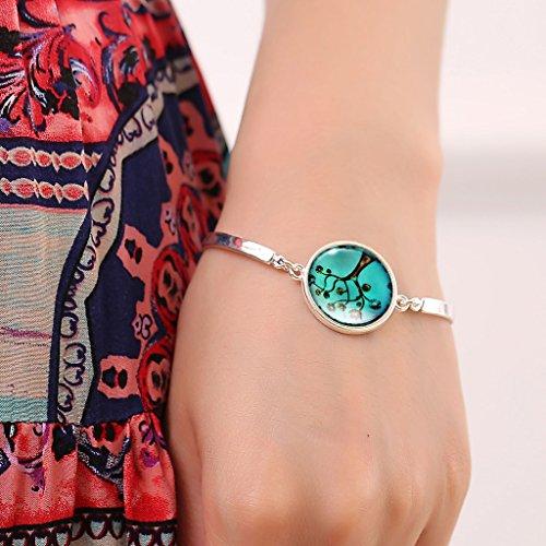 Jiayiqi La Valeur De Femmes Fleur Arbre Verre Temps Pierre Gemme Pendentif Collier Bracelet Bijoux No1