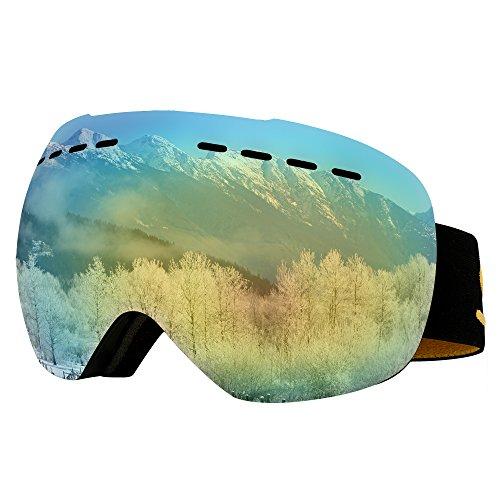 Supertrip Skibrille Herren Damen Snowboardbrille für Brillenträger Antifog 100% UV400 schutz (One Size, Gold (VLT 10,26%))