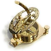 NauticalMart Real Simple a Handtooled Handmade Brass Sunburst Compass w / Wooden Box