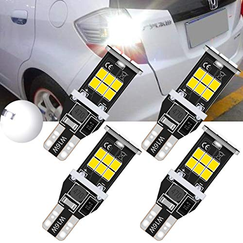 TUINCYN T15 912 921 LED Ampoules de recul inversées Blanc 6000K CANBUS Sans erreur, W16W 906 2835 Lampe de recul 2835 15SMD Ampoule de recul à LED compensée (Lot de 4)