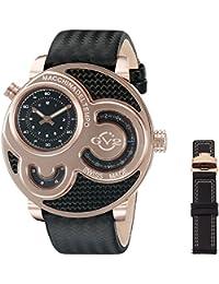 GV2 by Gevril Macchina Del Tempo Mens Swiss Quartz Carbon Fiber Pattern Black Leather Strap Watch, (Model: 8303)