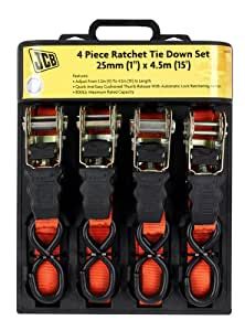 JCB 4 Piece Ratchet Tie Down Set JCB-4RTDS