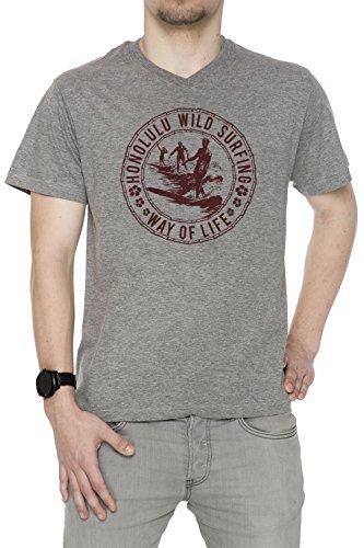 Honolulu Wild Surfing Uomo V-Collo T-shirt Grigio Cotone Maniche Corte Grey Men's V-neck T-shirt