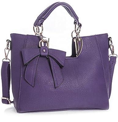 Big Handbag Shop Womens Plain Golden Deco Bow Detail Top Handle Shoulder Bag - Medium Size
