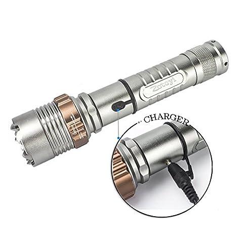 autodéfense lampe de poche, rechargeable lampe de poche, Zotoyi tactique à LED à main lampe de poche avec zoom mise au point réglable, résistant à l'eau, batterie 18650et chargeur
