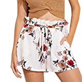 Xinan Shorts Femme, Yoga,Jogging,Bermudas,Sports Shorts Respirant Extensible Cyclisme Shorts Mode Casual Pants,Femmes Imprimer Casual Ceinture Chaud Pantalon Beach Shorts Pantalons (S, Blanc)