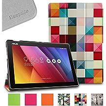"""BeePole ASUS ZenPad 10 Funda - Funda protectora inteligente triple de cuero PU para ASUS ZenPad 10 (Z300C/Z300CG/Z300CL) 10.1"""", con soporte y función magnética despertador/apagado automática, Multicolor"""
