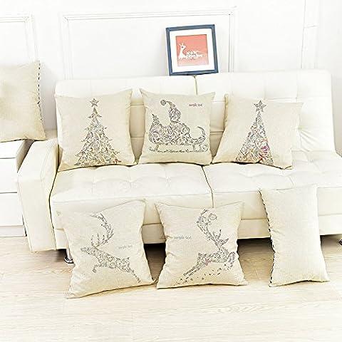 CAROLWU Creativi Moderni Minimalista Di Natale Alce Cuscini Cuscino Modello Mappa Personalizzata , A , 45*45 Matt Denim