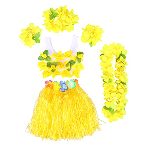 Bh Kokosnuss Kostüm - BESTOYARD Hawaii Kostüme Tropical Hula Gras Rock BH Blume Armbänder Stirnband Halskette 6 Stück (Gelb)