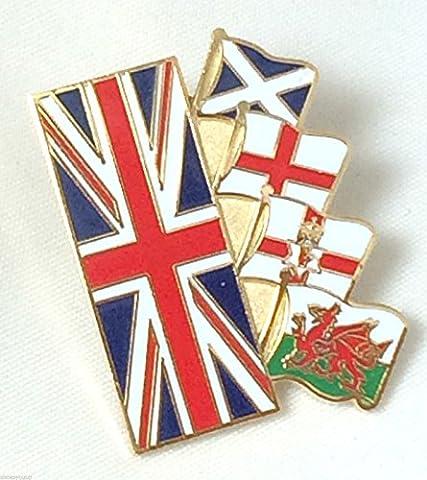 Union Jack & 4 Home amitié drapeaux Nations-Gifts Épinglette émaillée