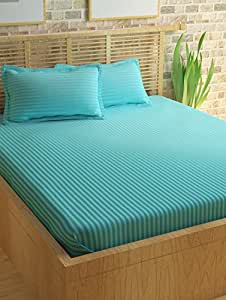 Story@Home 300 TC 100% Cotton Sateen Double King Size Bedsheet with 2 Pillow Covers Plain Premium Platinum Superior Elegant Solid Stripes Light Blue