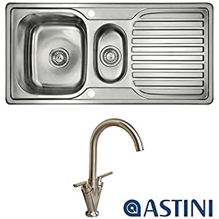 Astini Velia 1.5 Bowl Brushed Stainless Steel Kitchen Sink & Saturn B6008BS Tap