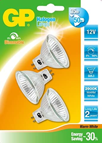 GP Lighting 720MR16ES35GU5. 3C3 Set of 3 MR16 Halogen lamps, 12 V 35 W GU5.3