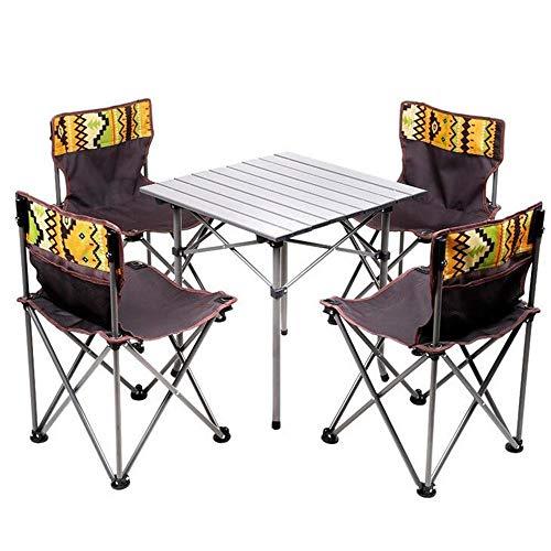 Yyqtdz Stuhlset Tragbar , Picknickplatz Autotisch Nationaler Windtisch und Stühle Innovationen Leichter Camp-Klapptisch aus Aluminium mit Hockern
