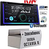 Skoda Octavia 2 1Z 2-DIN Nexus Columbus etc. - Autoradio Radio JVC KW-R930BT - CD Bluetooth Android Apple MP3 USB - Einbauzubehör - Einbauset