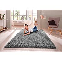 VICEROY BEDDING SHAGGY RUG 30MM / 3cm Modern Rugs Living Room Extra Large Small Medium Rectangular Size Soft Touch Thick Pile Living Room Area Rugs Non Shedding (Grey, 160cm x 230cm (5.5ft x 7.5ft))